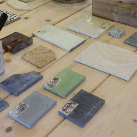 דוגמאות חומרים ,בטון, ריצופים , בקורס ספריית החומרים של שרון